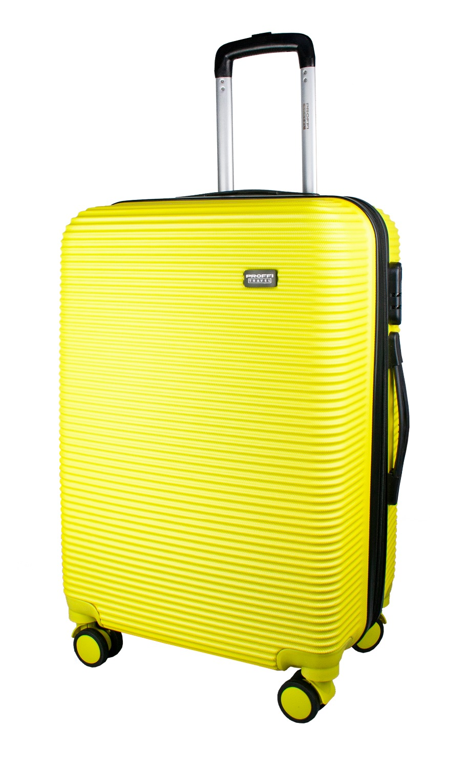 Plastic suitcase PROFFI TRAVEL PH9532yellow on wheels, M, with built-in weights 1 silent plastic fixed castor wheels diy silicone caster 10pcs