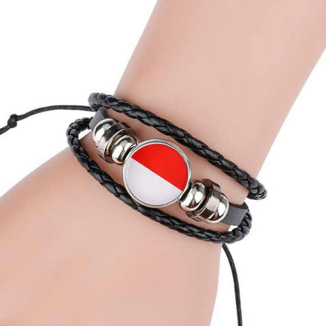 HOBBORN European Flag Football Team Leather Bracelets & Bangles Women Albania Fans Stainless Steel Bangle Men Handmade Jewelry