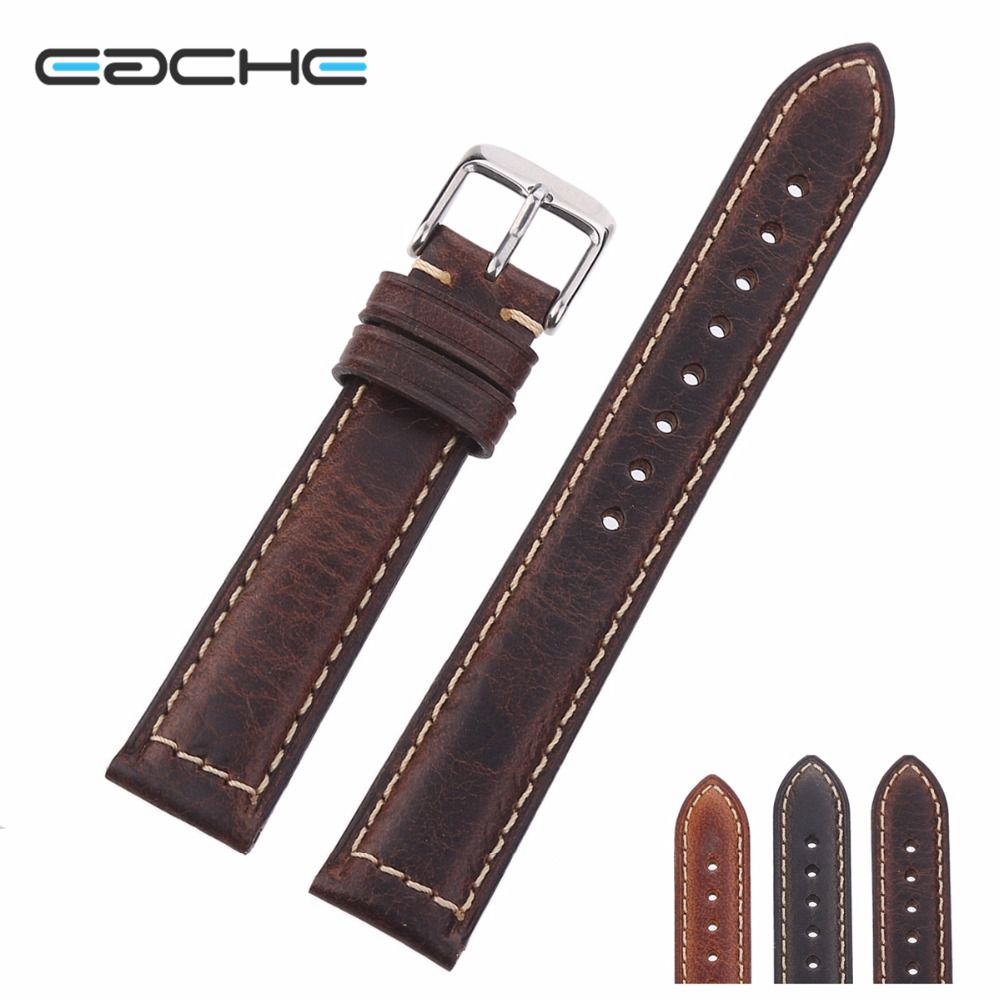 EACHE 18mm 20mm 22mm Watch Band Oil Waxed Genuine Leather Watch Band Crazy Horse Leather Strap Small buckle Silver&Black