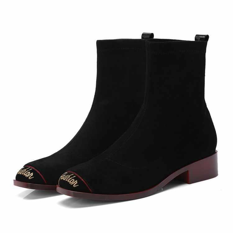 MLJUESE 2019 mujeres mediados ternero botas chico de color camel tacones bajos otoño carta primavera las mujeres las botas casual botas talla 40