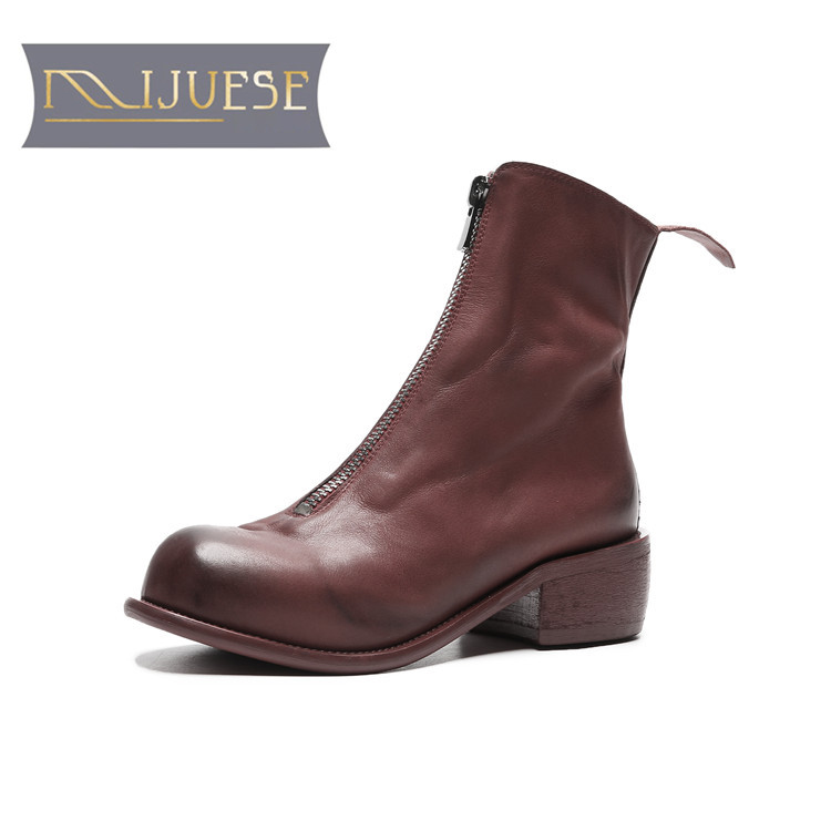 MLJUESE 2019 women ankle boots cow leather zippers wine red winter short plush boots low heel