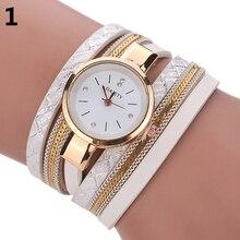 Women Watch Slim Multilayers Round Dial Leather Bracelet Quartz-watch Female Wrist Watch L