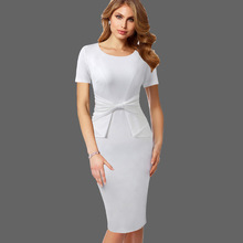 Vfemage Vintage Solid Color Print Ruffle Bow Wear to Work Zipper vestidos Bodycon Office Business Party Sheath Women Dress 361