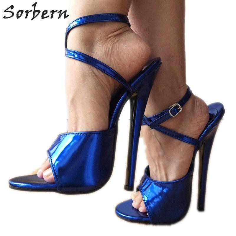 Sorbern Metallic Blue Sandals Size 43 Women Shoes 18Cm Stiletto Heel Wrap Strap Sandals Slingbacks Heels For Women Runway Shoes fashionable pu leather and stiletto heel design sandals for women