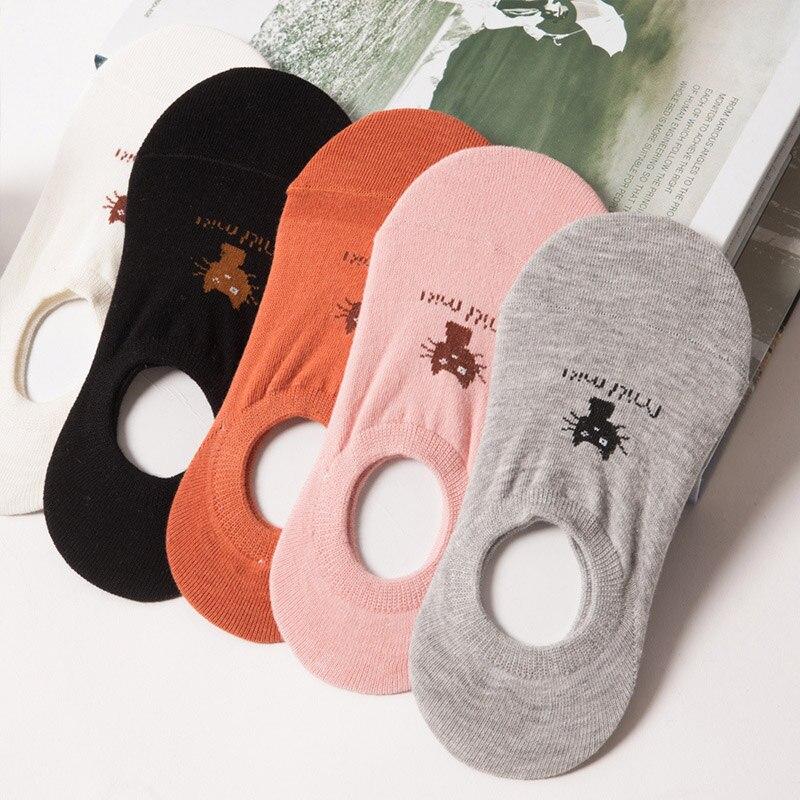 Women Short Socks Cartoon Cat Pattern low cut Invisible Socks women summer cotton socks Summer Female