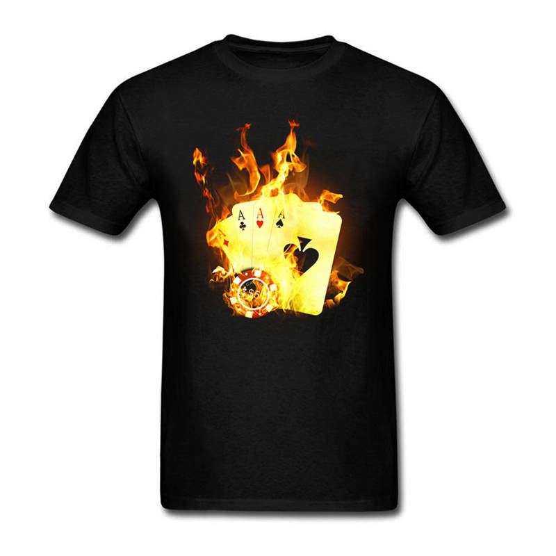 High Quality Casual Printing Tee Regular Burning Card Crew Neck Short-Sleeve Tee Shirt For Men