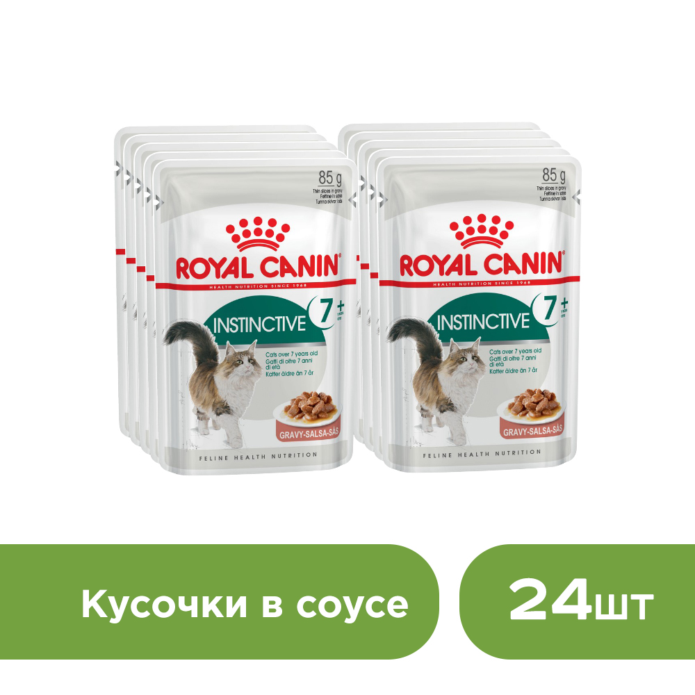 Cat wet food Royal Canin Instinctive +7 spider for cats over 7 years old (pieces in sauce, 24*85 g.) cat wet food royal canin instinctive 7 spider for cats over 7 years old pieces in sauce 24 85 g