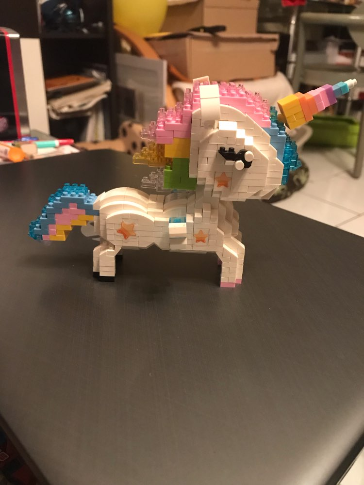 Rainbow Unicorn Figure Cartoon Colorful Bricks Toy photo review