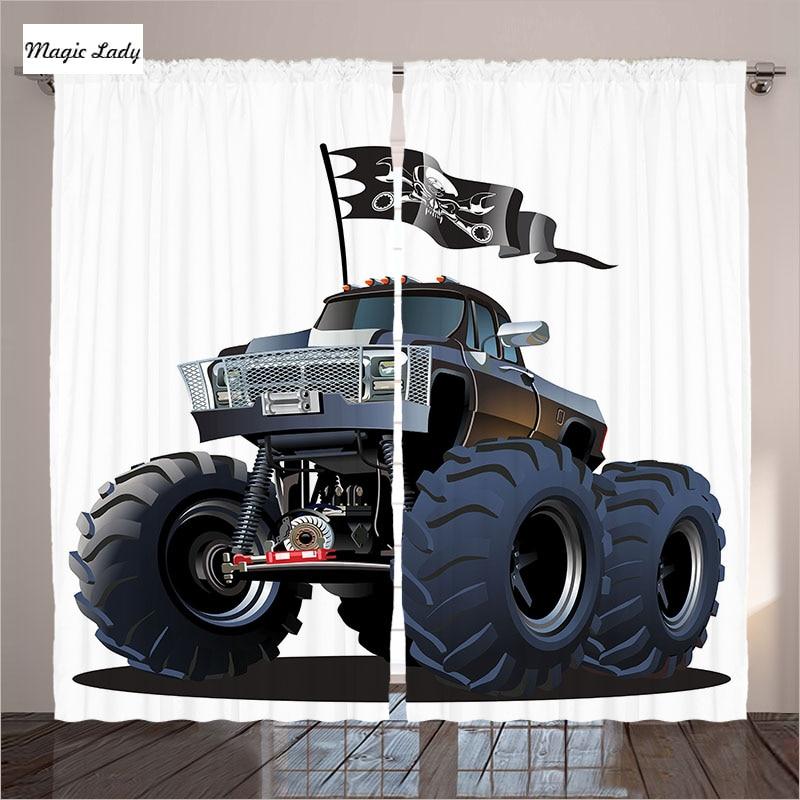 Kids Bedroom Curtains Living Room Popular Monster Truck ...
