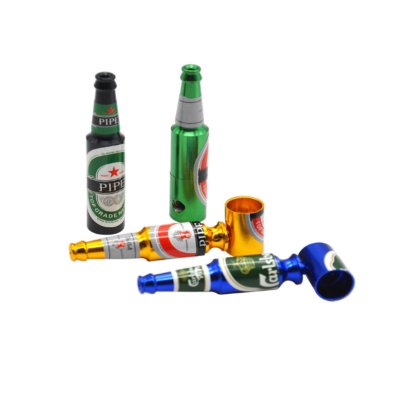 1Pcs Small Mini Beer Bottle Metal Pipe Many Colors Smoking Pipes For Smoker Portable Tobacco Pipe Knife Random color ...