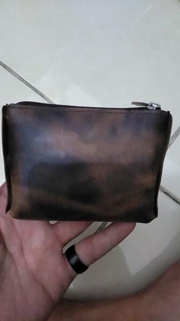 Men Wallet Genuine Leather Coin Purses women Male Small Change Mini Zipper Money Bag Pocket Wallets Key Holder carteira Handmade photo review