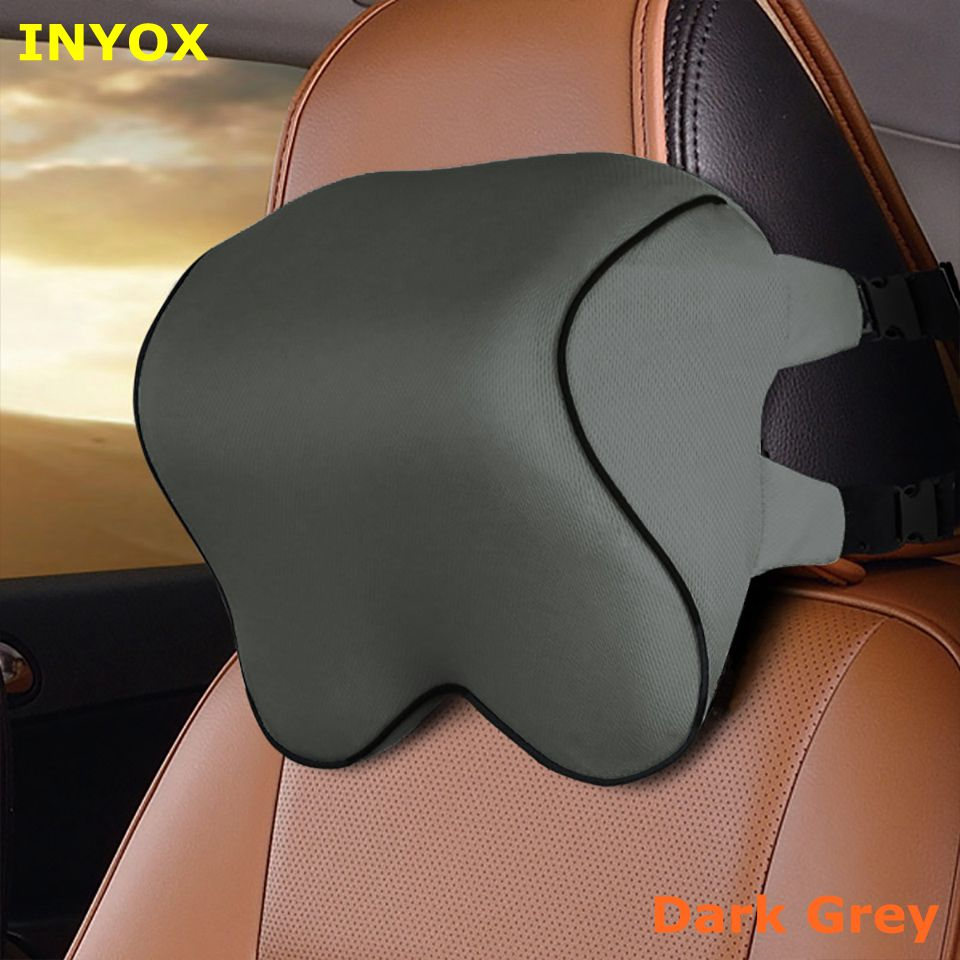 L2D Car Headrest Head Seat Cushion Neck Pillow Rest Memory Foam Cotton Cover For Auto Travel Support Fabric Soft Chair Mesh Home