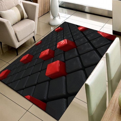 Else Black Red Cubes Boxes Geometric 3d Print Non Slip Microfiber Living Room Decorative Modern Washable Area Rug Mat