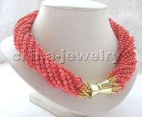 18 12row 4 5mm orange round coral necklace GP magnet clasp>>>girls choker necklace pendant Free shipping
