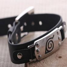 Naruto Silver Alloy  Leather Bracelet