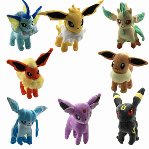 New Eevee Plush Toys 8 Styles Umbreon Eevee Espeon Jolteon Vaporeon Flareon Glaceon Leafeon Soft Stuffed Animals Doll