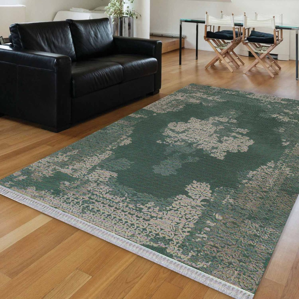 Else Green Gray Turkish Ethnic Persian Retro 3d Print Anti Slip Kilim Washable Decorative Kilim Area Rug Bohemian Carpet