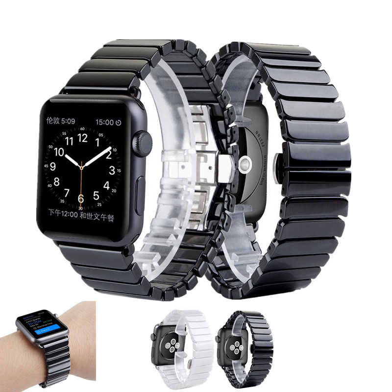 ASHEI Ceramics Strap for Apple Watch Band Stainless Steel Series 3 Link Bracelet 42mm Series 2/1 Straps for iWatch Bands 38MM