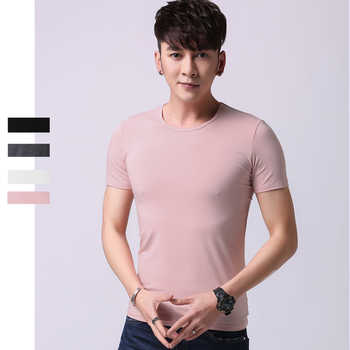 pack of 5 /lot tshirt Mens Basic Plain Comfortable Men\'s Traditional Crew Neck 95% Bamboo Fiber Viscose Undershirt,White T shirt