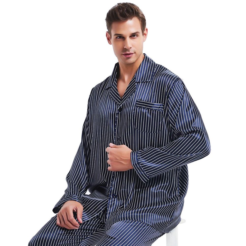 Great  Gifts_ Mens Silk Satin Pajamas Set Pajama Pyjamas PJS  Sleepwear Set   Loungewear U.S,S,M,L,XL,XXL,3XL,4XL Plus Striped