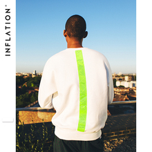 INFLATION Fluorescent Green Vertical Stripe Hoodies Men/Women Casual Pullover