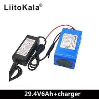 Liitokala bateria de lítio 24 v 6ah 7s3p  18650 moped de bicicleta elétrica/elétrica/bateria de íons de lítio pacote + v2a