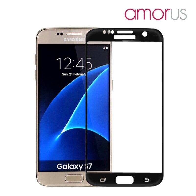 bilder für AMORUS für Galaxy S 7 G930Tempered Glas für Samsung Galaxy S7 G930 Silk Druck des Vollen Größe Gebogen Gehärtetem Glas Bildschirm schutz