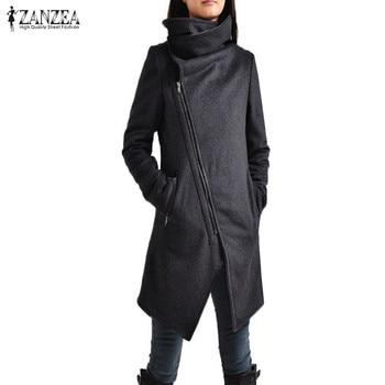 f93c4779b5f3c ZANZEA mujeres asimétrico dobladillo cuello alto manga larga cremallera  invierno Casual Vintage largo Outwear Moto Biker abrigo chaqueta mezcla de  lana