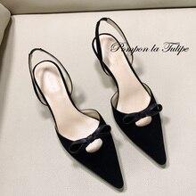 BHS 901181 Chic Bow 5CM Heels Stilettos Slingback Genuine Leather Stylish Sandals Sheepskin Fashion Women Shoes Party Wedding