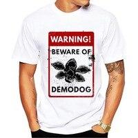 Beware of demodog Предупреждение ющий знак забавная Футболка мужская летняя новая белая Повседневная футболка большого размера Demogorgon homme