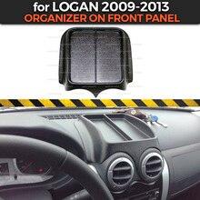 Органайзер на переднюю панель для Renault Logan 2009-2013 Пластиковая консоль из АБС-пластика тисненые карманные аксессуары для стайлинга автомобилей