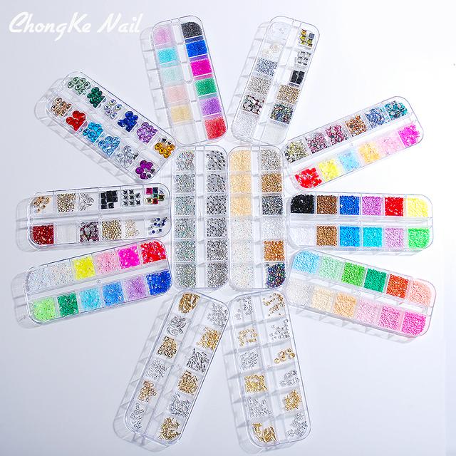 1 box Woman's nail art deco shiny makeup Rhinestone Accessories Fashion style new 100% 12 styles Pick