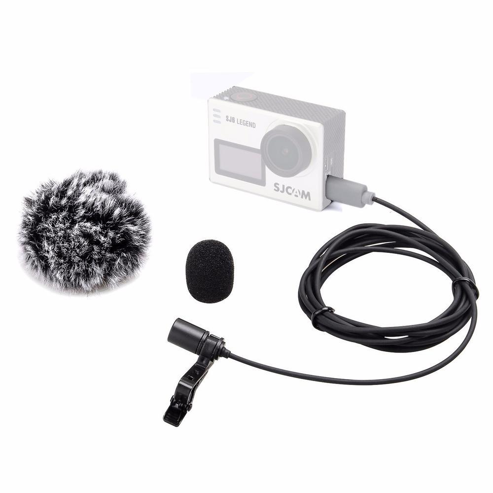 Lavalier Microphone Clip-on Omni-directional Condenser Mic for SJCAM SJ6 LEGEND SJ7 Star with Wind Muff