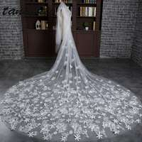 Tulle Bridal Veil 3 M Cathedral Veil Lace Applique Cut Edge Flower Wedding Veil Free Shipping Women Wedding Accessories