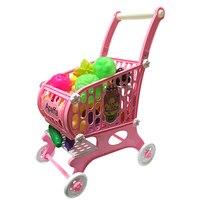 슈퍼마켓 쇼핑 카트 척 주방 장난감 어린이 미니 트롤리 과일 야채 주방