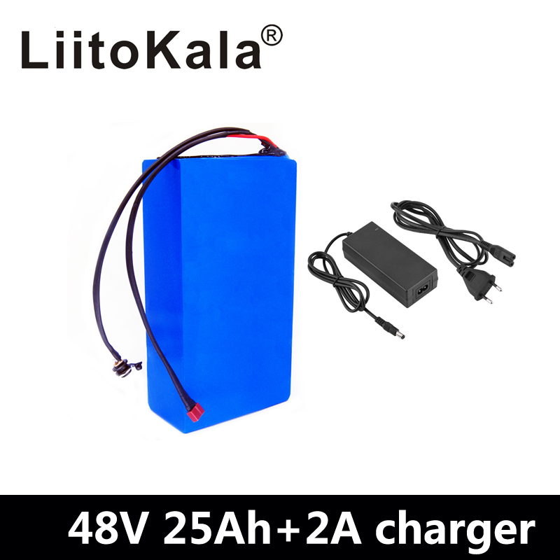 LiitoKala 48V25ah 48 V batterie au Lithium batterie 48 V 25AH 2000 W batterie de vélo électrique intégrée dans 50A BMS + 54.6 V 2A chargeur