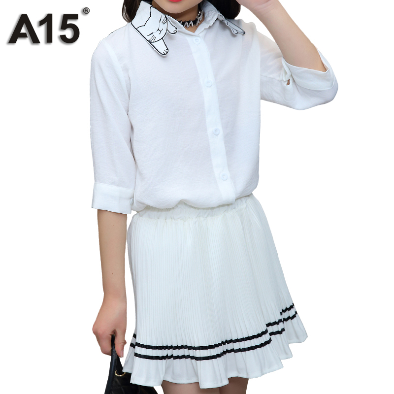 A15 New Hot Teenage Girls Clothing 2018 Summer Kids White Shirts + Skirt for Toddler Girls Tracksuit Sets Size 4 8 10 12 14 Year