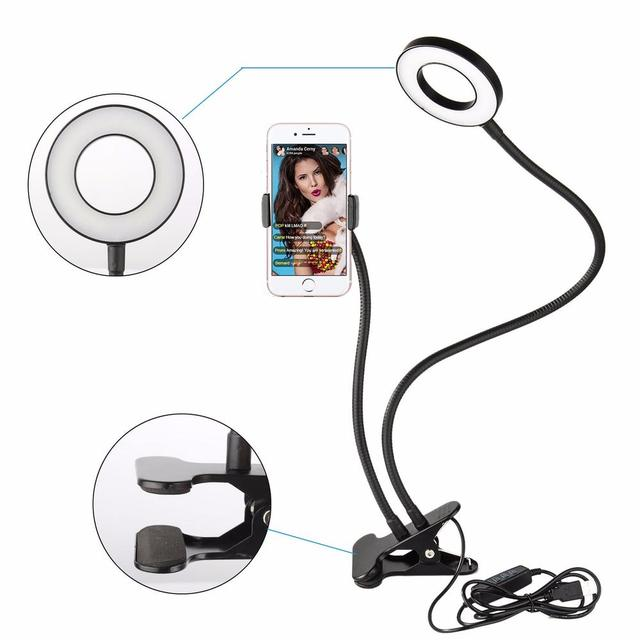 LED Selfie Ring Light with Cell Phone Holder for Live Stream iPhone Smartphone Lazy Bracket Youtube Lamps Mobile Lighting