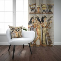 Else Brown Yellow Egypt Ethnic Authentic Vintage 3d Print Living Room Bedroom 1 Panel Set Curtain Combine Gift Pillow Case