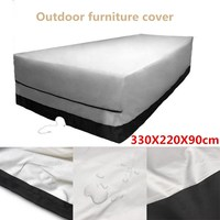 Outdoor Garden Furniture Cover 330X220X90cm Rect Patio Table Desk Chair Waterproof Black Color 600D Dust Rain