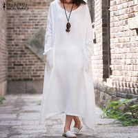 ZANZEA Women Dress 2018 Sexy V Neck Long Sleeve Cotton Long Maxi Dresses Casual Loose Vintage