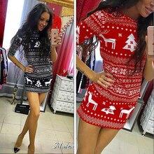 2017 New Fashion autumn three Quarter dress sexy casual o-neck fashion Christmas deer printed floral mini dress