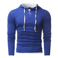 New Autumn Spring Men Fashion Hooded T Shirt Long Sleeve O Neck Fitness Casual T Shirt