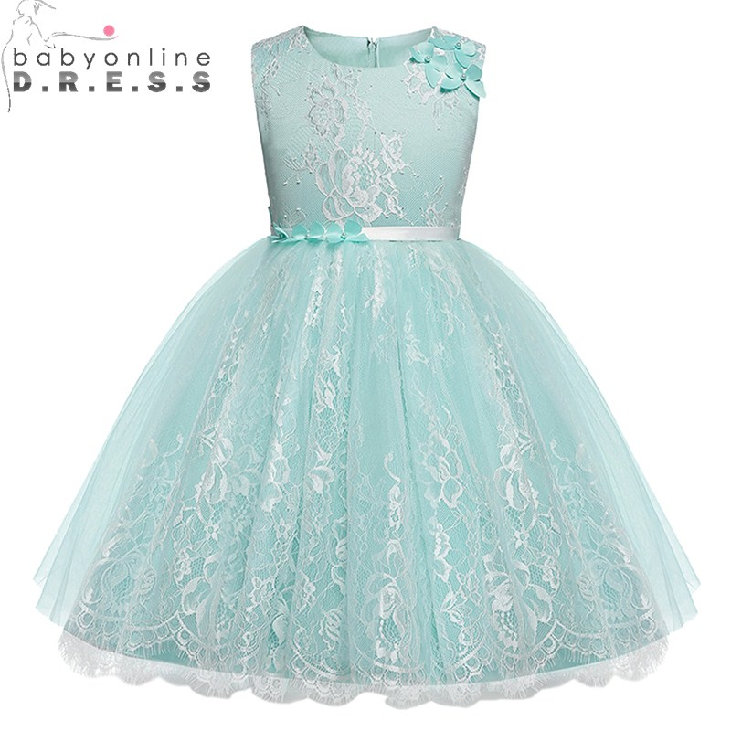 High Quality Knee-Length   Flower     Girls     Dress   With Ribbon Belt Charming Lace Bow Back   Girls   Evening Prom   Dresses   Real Photo