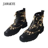 JAWAKYE пикантные заклепками женские ботильоны квадратный на низком каблуке обувь на плоской подошве с пряжкой на молнии Зимняя обувь из натур