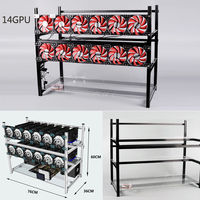Up To 14 GPU Mining Frame Open Air Aluminum Stackable For Ethereum BTC Mining Case