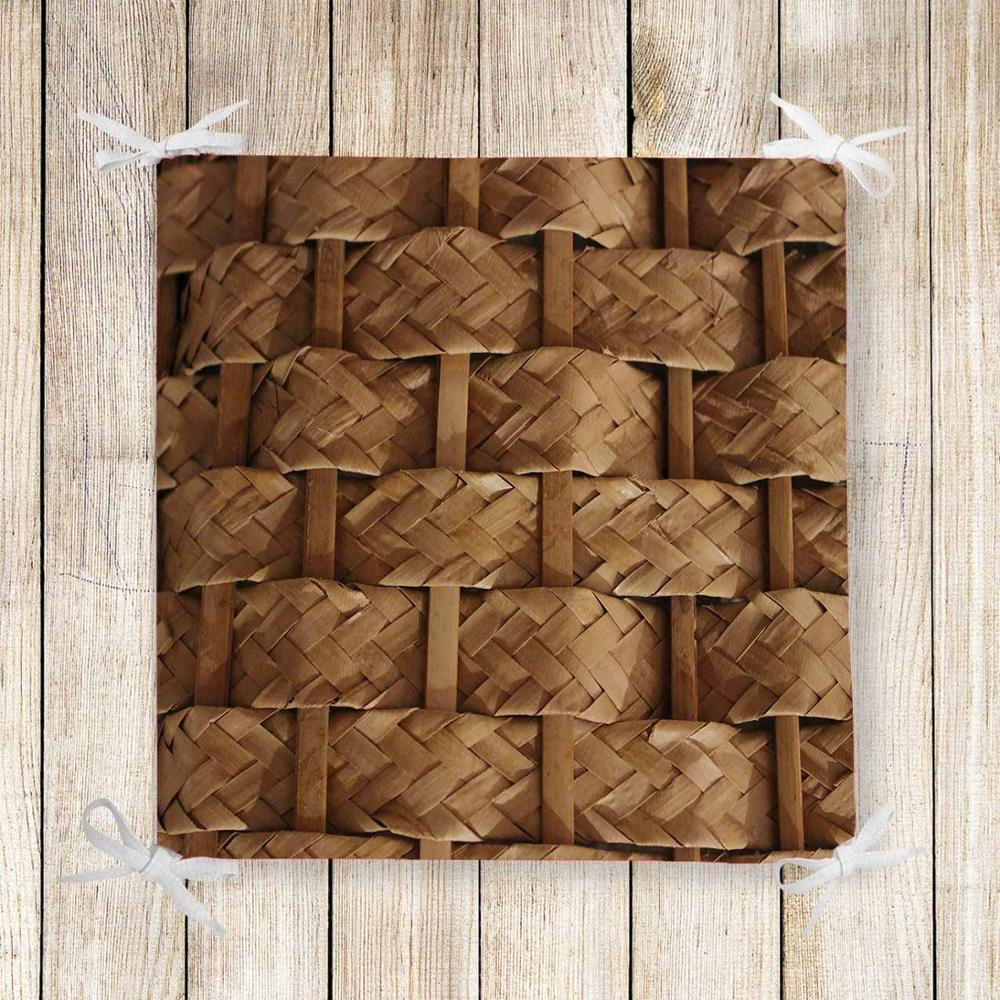 Else Brown Bamboo Wicker Retro Floral 3d Print Square Chair Pad Seat Cushion Soft Memory Foam Full Lenght Ties Non Slip Washable