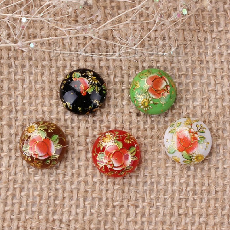 Doreen Box Resin Painting Vintage Tensha Dome Seals Cabochon Round Colorful Rose Flower Pattern 12mm( 4/8
