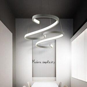 Image 5 - S Shape Black or White Finish Modern led chandeliers for Dining Room Kitchen Room Hanging Pendant chandelier fixtures 110V 220V