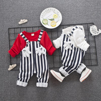 Autumn Baby Clothing Set Striation Lovely Overalls Long Sleeve Hoodie Cotton 2pcs Sets Jumpsuits Boys Girls